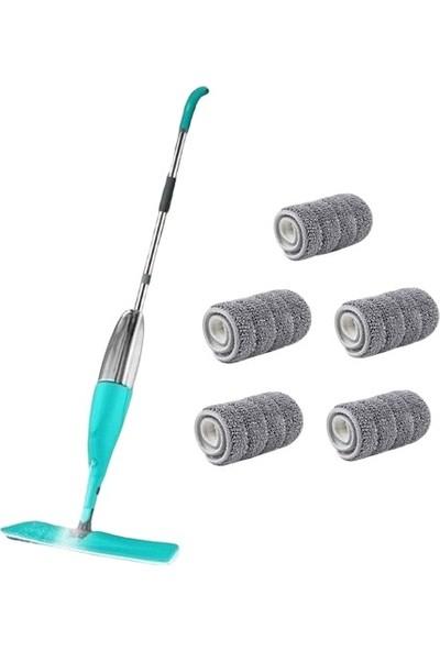 Nalbur Sepeti Spin Mop Sprey Mop Temizlik Seti Spray Mop 4+1 (5) Mikrofiber Bezli
