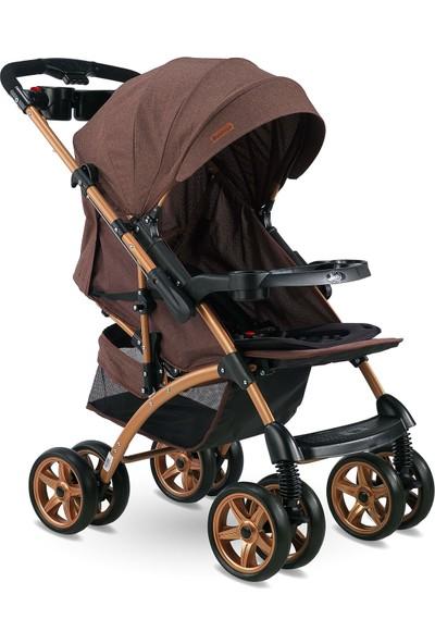 Babyhope BH-609 Polo Çift Yönlü Bebek Arabası Kırçıllı Kahve