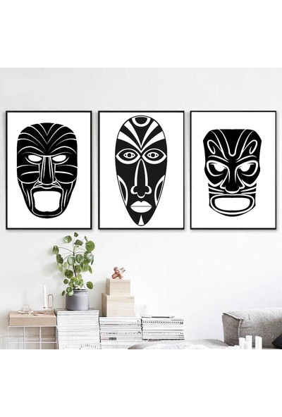 Minerva Home Clothes El Yapımı Afrika Yerli Motif Temalı Dekor Tablo 3lü Set
