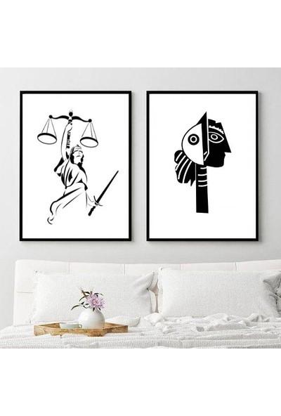 Minerva Home Clothes El Yapımı Afrika Yerli Motif Temalı Dekor Tablo 2li Set