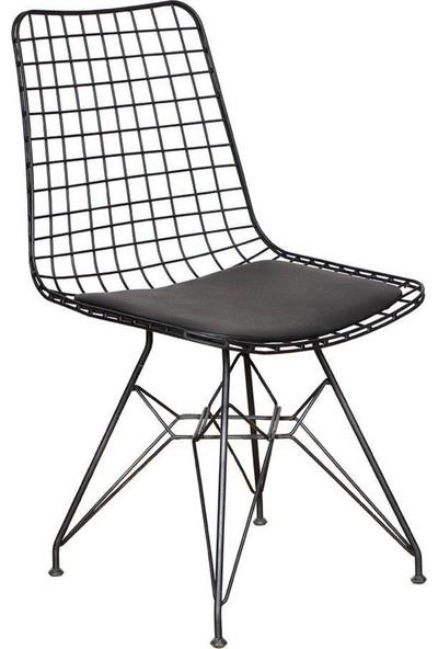 Vudi Design Lifos Yemek Mutfak Balkon Masası Mermer Desenli + 2 Adet Tel Sandalye
