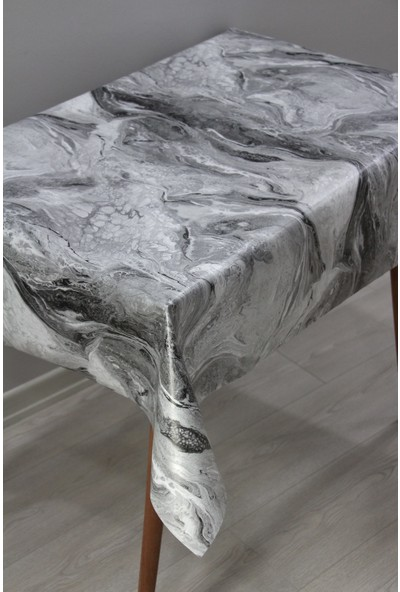Dede Ev Tekstil Elyaf Astarlı Silinebilir Muşamba Masa Örtüsü Moderno Mermer 06
