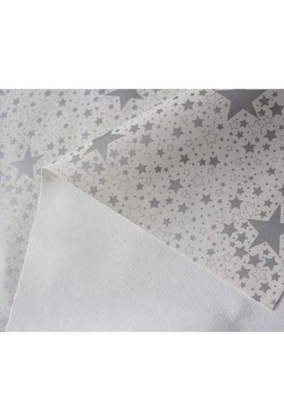 Dede Ev Tekstil Astarlı Yıldız Desen Pvc Leke Tutmaz Silinebilir Muşamba Masa Örtüsü 226-2SLVR