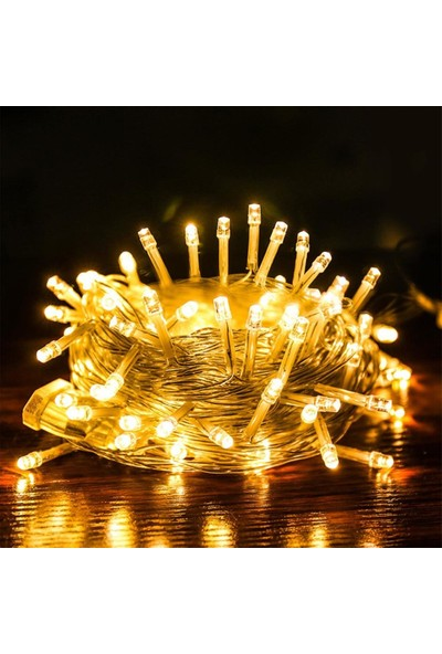 Astral Şeffaf Kablolu LED Işık 10 mt 8 Fonksiyonlu Gün Işığı Sarı Renk