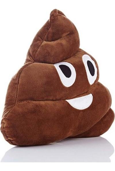 Deco Elit Kahverengi Gülen Poo Emoji Yastık Dekoratif Yastık