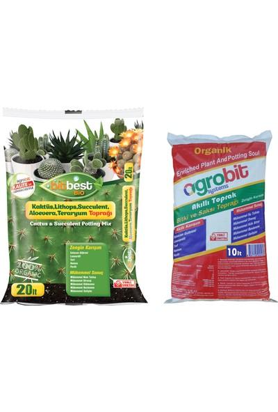 Bitbest Bio 20lt Kaktüs Toprağı + Agrobit Akıllı Bitki Toprağı 10lt