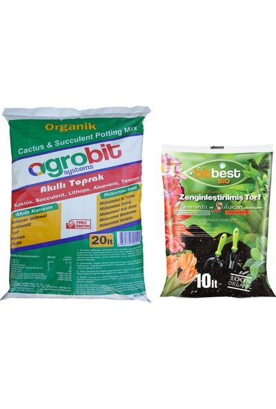 Agrobit Akıllı 20lt Kaktüs Toprağı + Bitbest Bio 10lt Bitki ve Saksı Toprağı