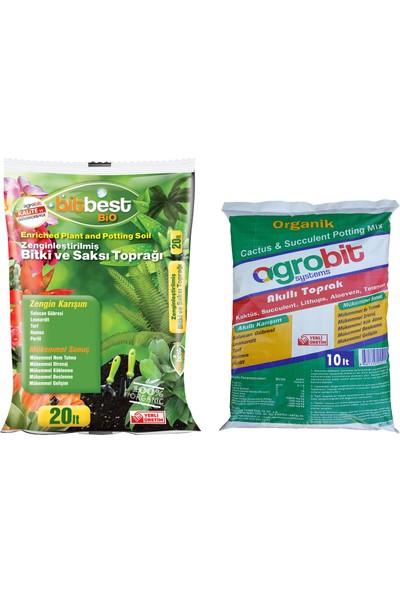 Bitbest Bio 20lt Bitki Saksı Toprağı + Agrobit Akıllı Kaktüs Toprağı 10lt