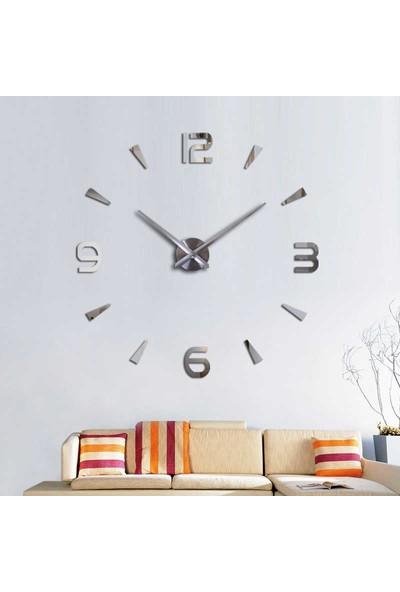 Otantik Dekoratif 3D Duvar Saati Pleksi Ayna Normal Rakamlı Gümüş 11 G8T3U-02