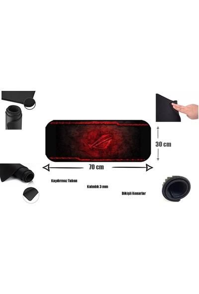 Appa Kırmızı Desenli Oyuncu Mouse Pad 70X30 cm Kaymaz Dikişli