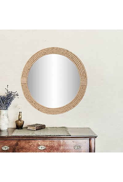Dfn Wood Jut Halatlı Yuvarlak Dekoratif Duvar Salon Banyo Aynası