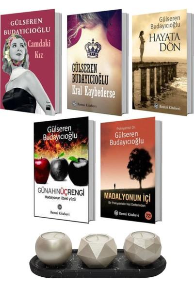 Gülseren Budayıcıoğlu 5 Kitap Set Kral Kaybederse - Hayata Dön - Madalyonun Içi - Günahın Üç Rengi - Camdaki Kız + Betonsu Tasarım Tealight Mumluk Seti