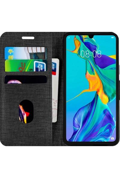 Fitcase Samsung Galaxy M20 (M205) Kılıf Fitcase Fabric Kapaklı Cüzdanlı Siyah