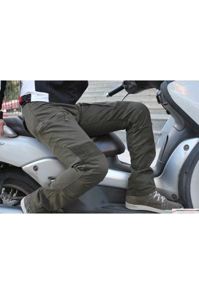 TECH90 Madra Haki Yeşil Kanvas Korumalı Motosiklet Pantolonu