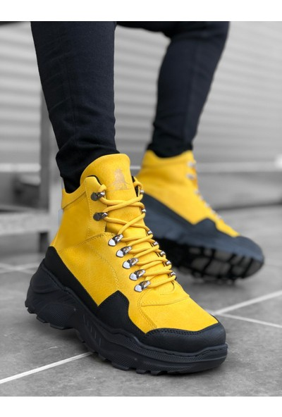BOA-BA0154 Bağcıklı Erkek Yüksek Taban Sarı Spor Bot
