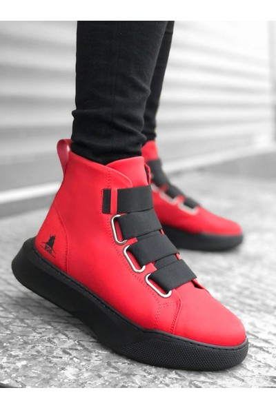 BOA-BA0142 Bantlı Erkek Yüksek Taban Kırmızı Spor Bot