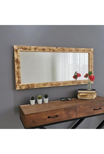Neostill - Ahşap Zımbalı Eskitme Ayna 110X50