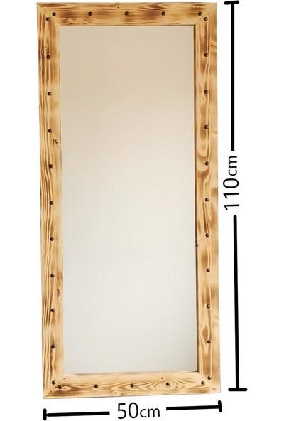 Neostill - Ahşap Zımbalı Eskitme Boy Aynası 50X110