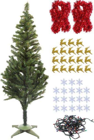 Kullan At Market Yılbaşı Ekonomik Çam Ağacı Seti Simli Eva Süslü Set 150CM Model-10
