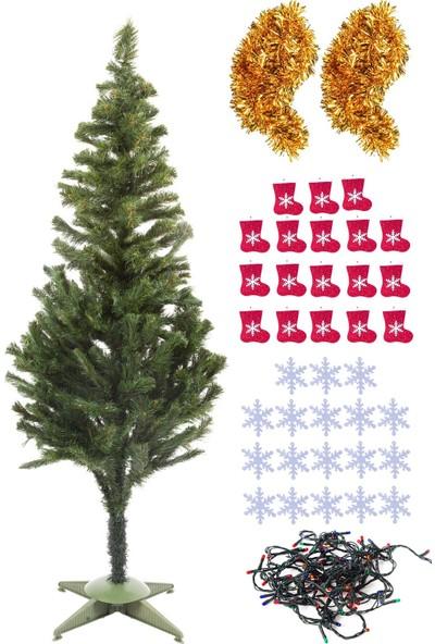 Kullan At Market Yılbaşı Ekonomik Çam Ağacı Seti Simli Eva Süslü Set 150CM Model-4