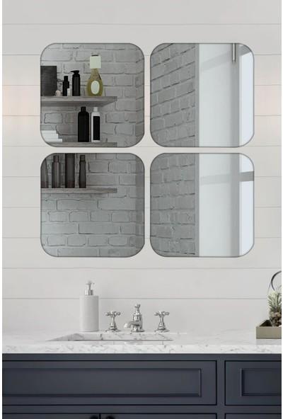 Lyn Home 4 Lü Köşeleri Yuvarlak Kare Füme Ayna 36X36 cm