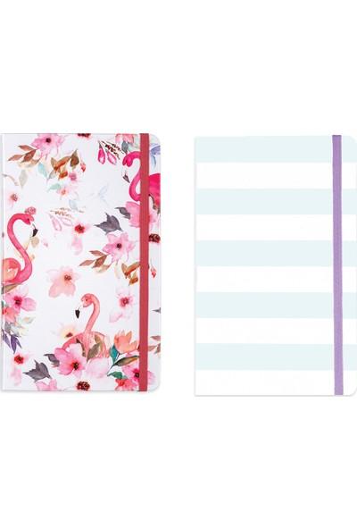 Matt Notebook Lastikli Kareli Flamingo Defter Seti 13 x 21 cm 2'li