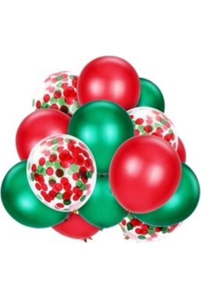 Yılbaşı Balon Demeti 30 Adet Kırmızı - Yeşil- Şeffaf Balon Pullu