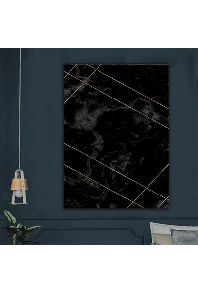 Ören Siyah Zemin Gold Desendijital Termal Taban Kaymaz Halı