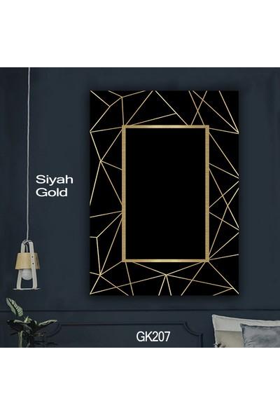 Ören Siyah Zemin Gold Çerçeveli Dijital Termal Taban Kaymaz Halı