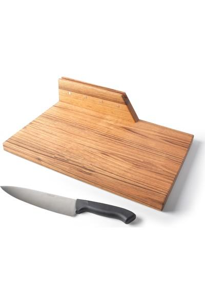 Ara Dekor Masif Ahşap Ceviz Ağacı Kesme Tahtası Telefon Tablet Standlı Mıknatıslı Bıçak Tutucu