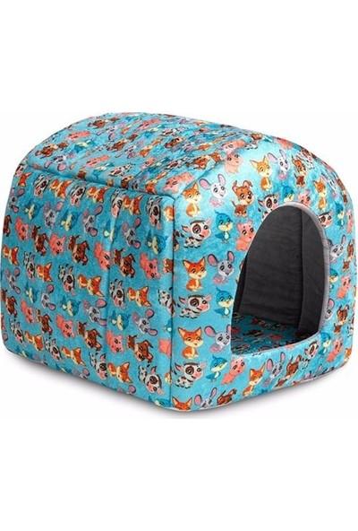 Desenli Kedi Köpek ve Diğer Ev Hayvanları Için Yatak Kedi Köpaek Yatağı Minderli Kulübe