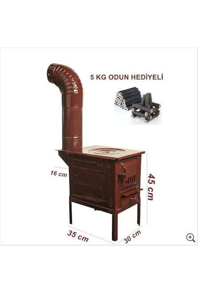 Narım Mini Emaye Kuzine Odun Sobası-- 5 kg Odun Hediyeli--