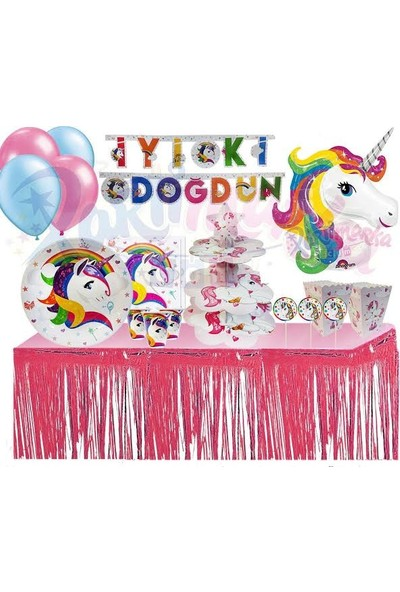 Fixman Unıcorn Lüks Doğum Günü Parti Seti 195 Parca