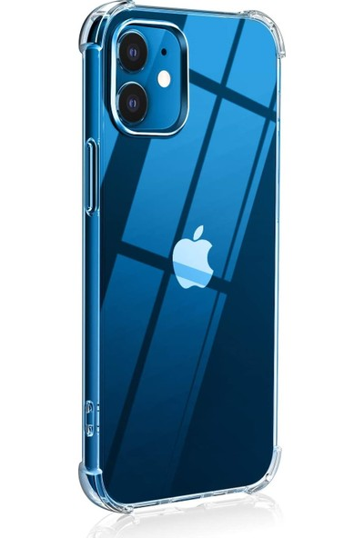 Quse Apple iPhone 12 Ultra Ince Antishock Premium Şeffaf Silikon Kılıf Airbag Arka Kapak