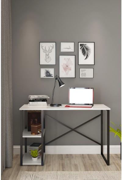 Pratico Metal Çalışma Masası 2 Raflı Beyaz Ofis Laptop Bilgisayar Masası 60X120