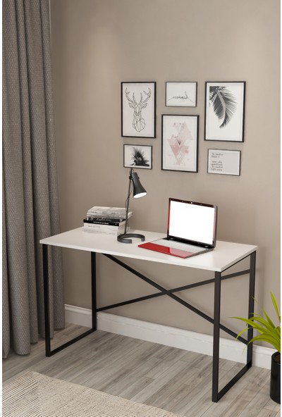 Pratico Metal Çalışma Masası Beyaz Ofis Laptop Bilgisayar Masası 60X90