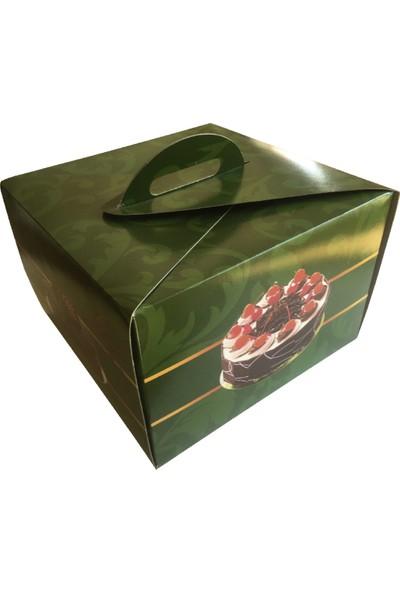 Büyük Yeşil Yaş Pasta Kutusu 100'LÜ