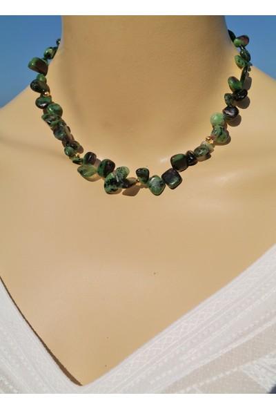 Dizayn Cam Yeşil Siyah Rubyzeosit Doğaltaş Tasarım Kolye