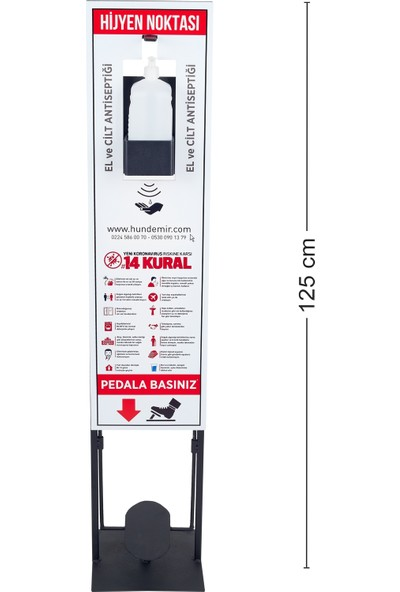 Hastunc Temassız El Dezenfektan Standı (Stand + Pompa + 1 lt Dezenfektan)