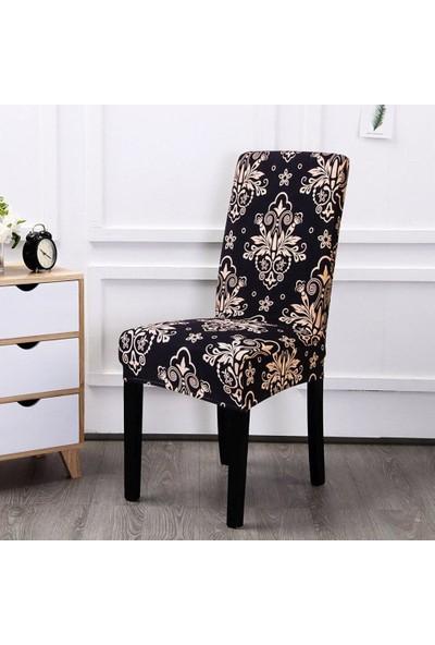 Madame Blue Ipek Kadife Likralı Dijital Baskı 6'lı Sandalye Kılıfı Osmanlı Gold Desen