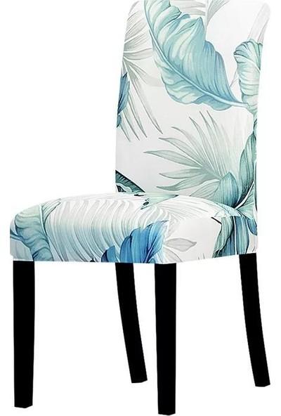 Madame Blue Ipek Kadife Likralı Dijital Baskı 6'lı Sandalye Kılıfı Yaprak Turkuaz
