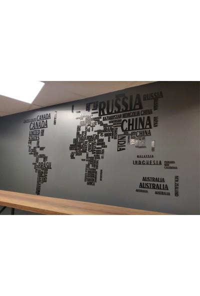 Pleksiden Ülke Isimleriyle Yapılmış Dünya Haritası Duvar Dekorasyonu 150X100CM