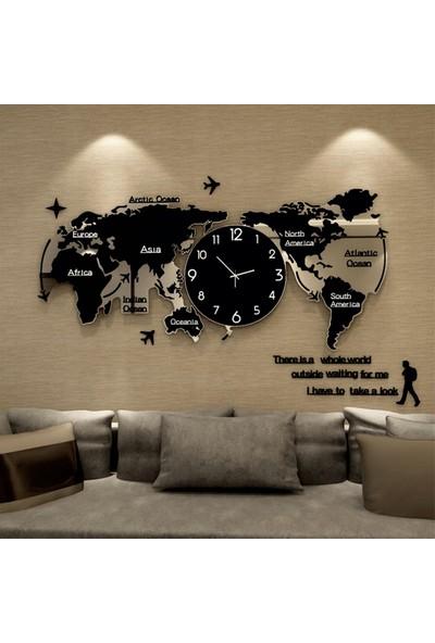CUSTOM Duvar Saatli Dünya Haritası Pleksi 120X55