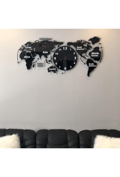 CUSTOM Saatli Dünya Haritası Pleksi 120X55