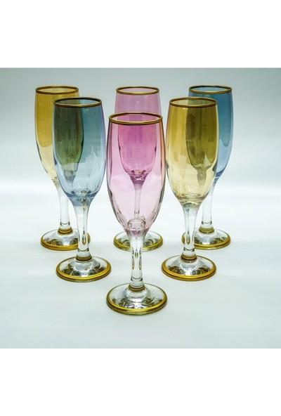 Cam Renkli 6 Kişilik Kahve Yanı Su Bardağı
