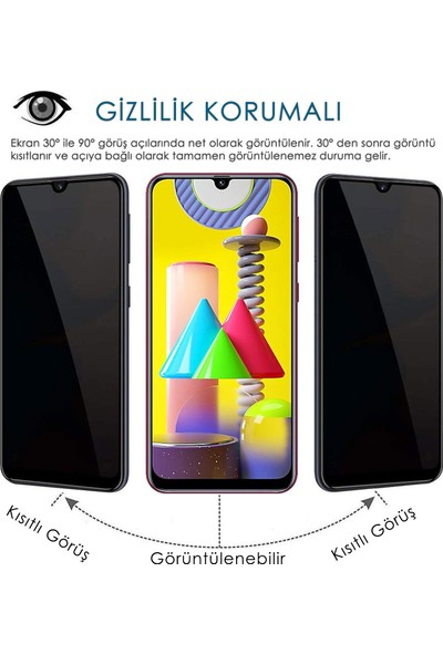 Volente Samsung Galaxy M31 5D Privacy Hayalet Ekran Koruyucu