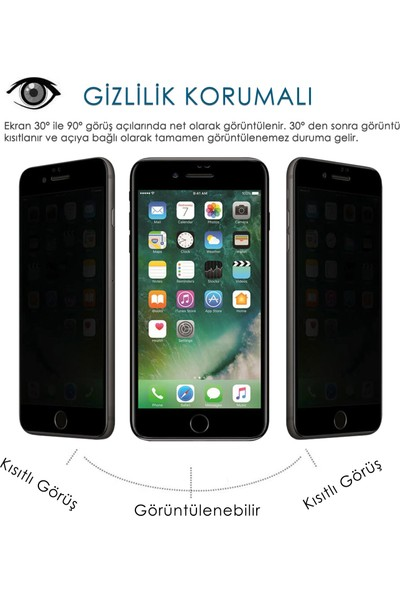 Volente Apple Apple iPhone 8 5D Privacy Hayalet Ekran Koruyucu