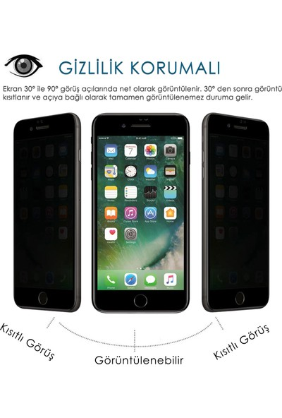Volente Apple Apple iPhone 7 Plus 5D Privacy Hayalet Ekran Koruyucu
