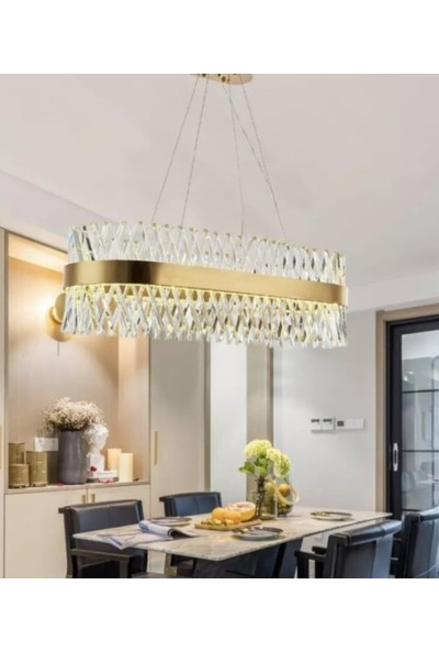 Burenze Modern Luxury Kristal Avize Kristal Taşlı Power LED Avize Bronz Yemek Masası BURENZE551