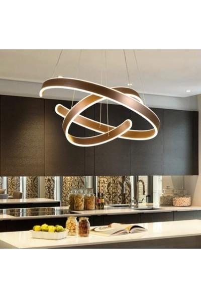 Burenze A++ Luxury Modern Ikili Sarkıt Power LED Avize 3 Renk Kademeli Koyu Kahverengi BURENZE561
